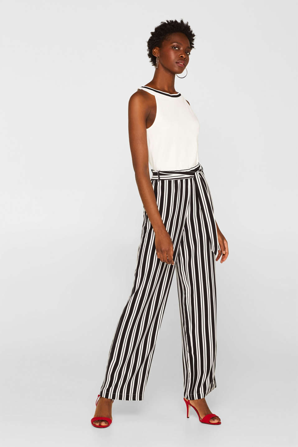Esprit - Woven trousers with stripes and tie-around belt
