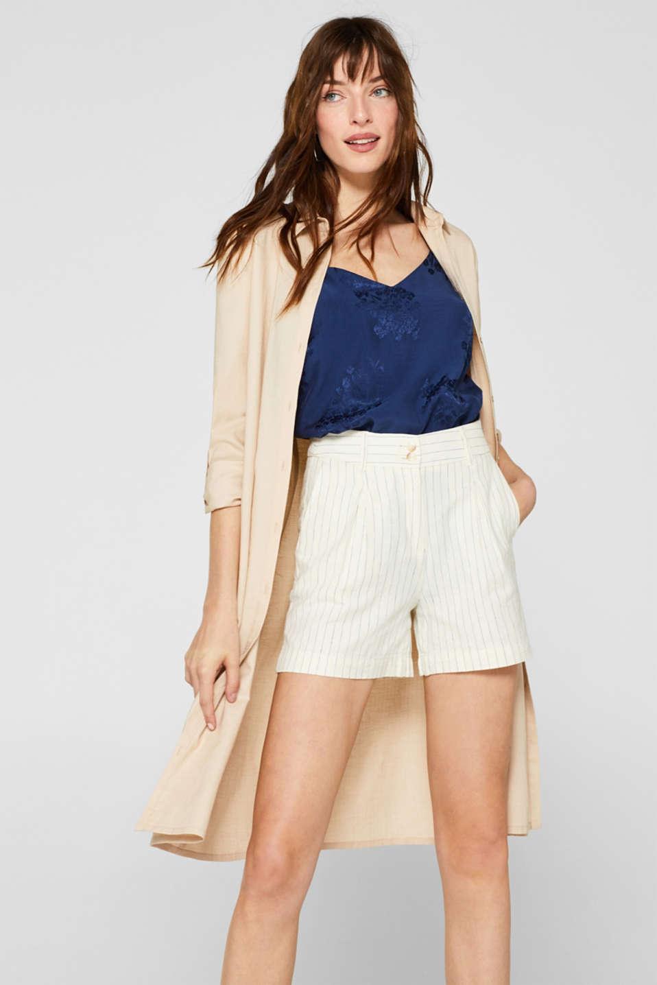 Linen blend: Shorts with waist pleats