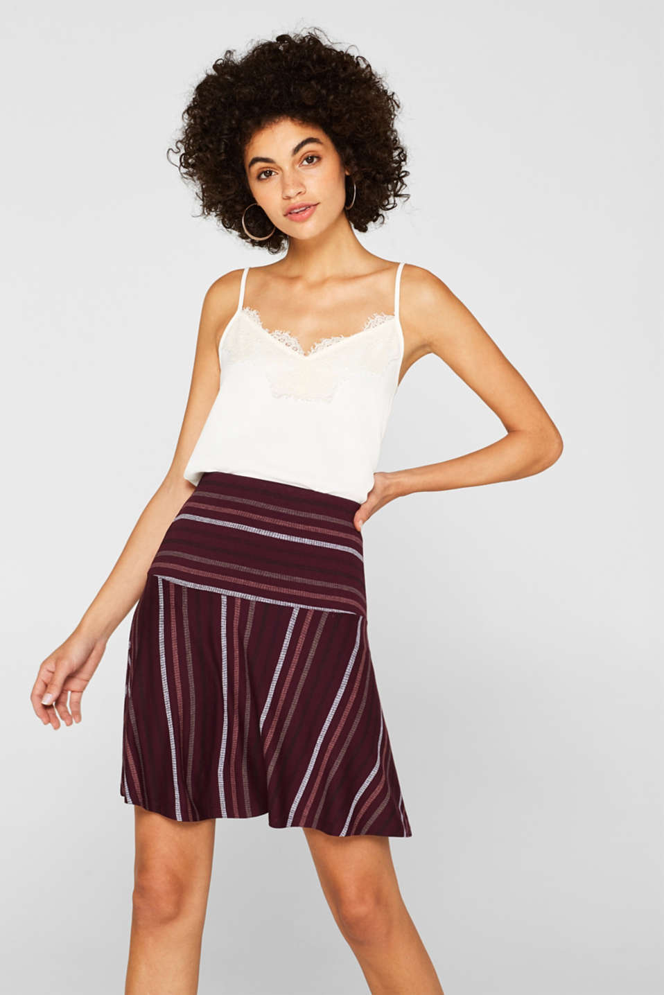 Esprit - Bell-shaped stretch jersey skirt with a print