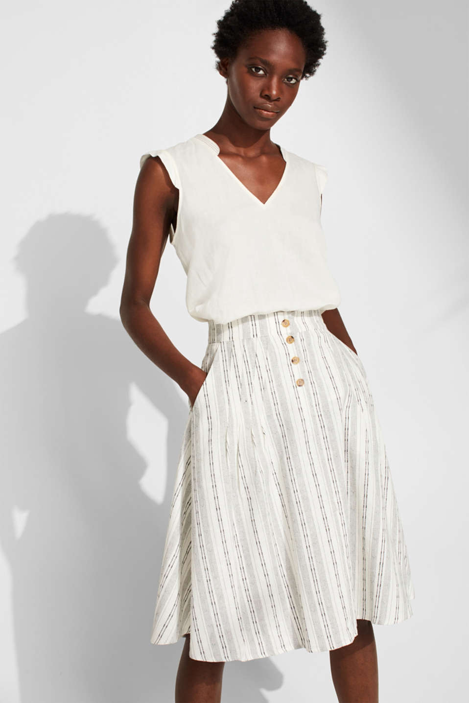 Esprit - Bell-shaped, blended linen skirt with a button placket
