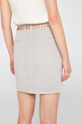 Stretch cotton skirt with a colourful belt
