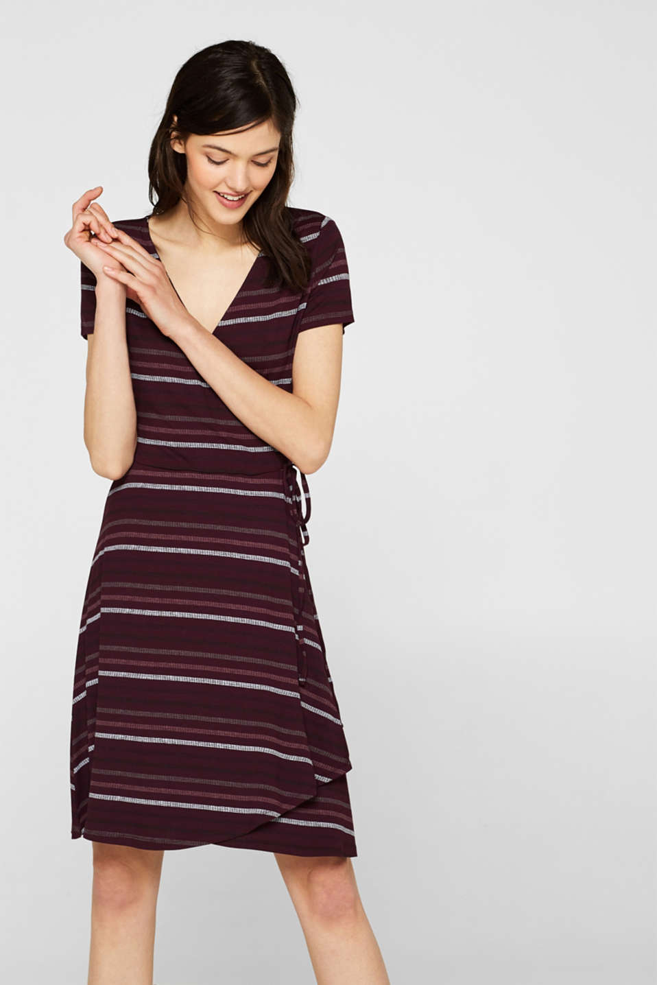 Esprit - Stretch-Jersey-Kleid mit Wickel-Optik