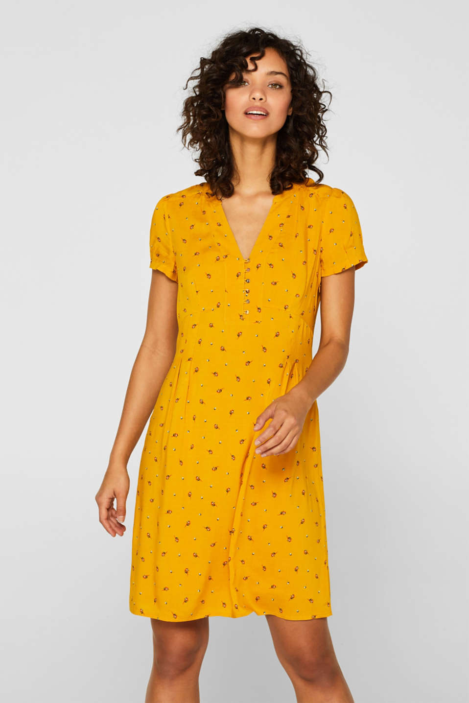 Esprit - Printed woven dress with a button placket