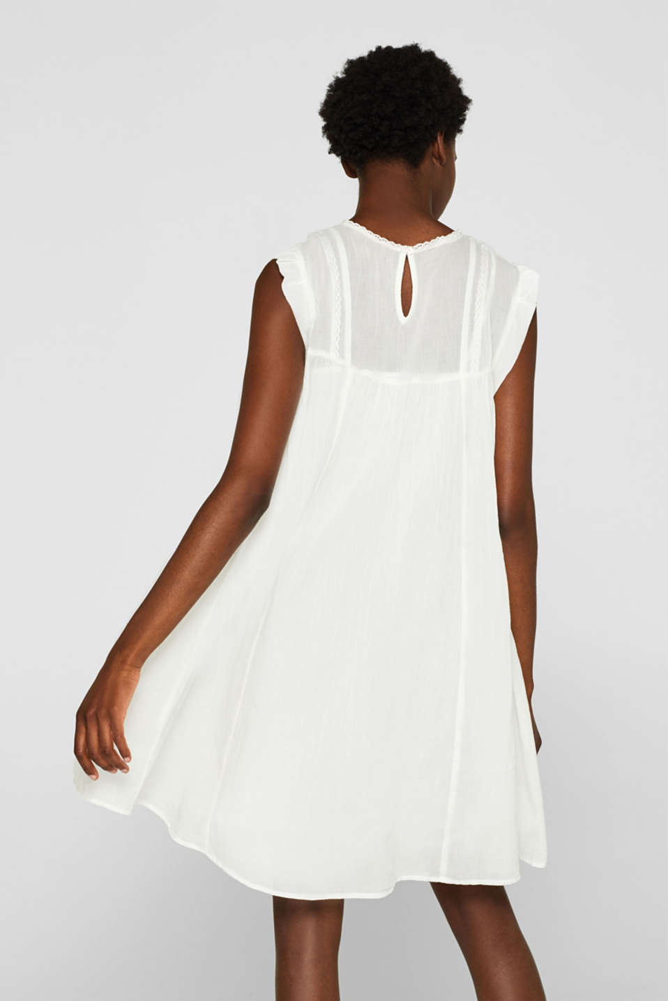 Crinkled cotton dress with embroidery and pintucks, OFF WHITE, detail image number 2