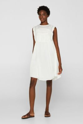 Crinkled cotton dress with embroidery and pintucks, OFF WHITE, detail
