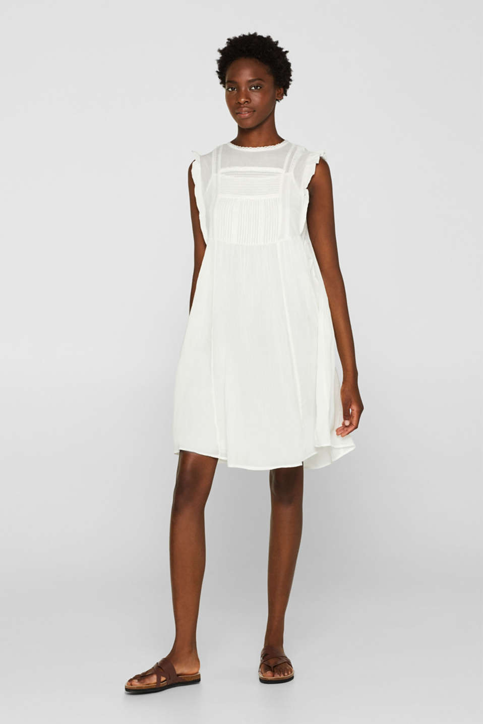 Crinkled cotton dress with embroidery and pintucks, OFF WHITE, detail image number 1
