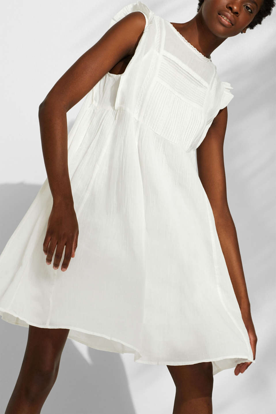 Crinkled cotton dress with embroidery and pintucks, OFF WHITE, detail image number 3