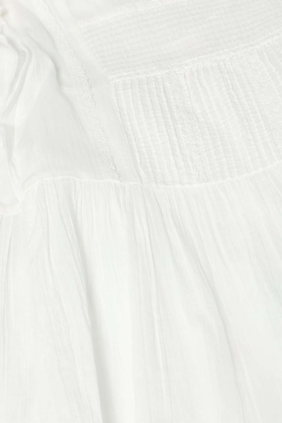 Crinkled cotton dress with embroidery and pintucks, OFF WHITE, detail image number 4