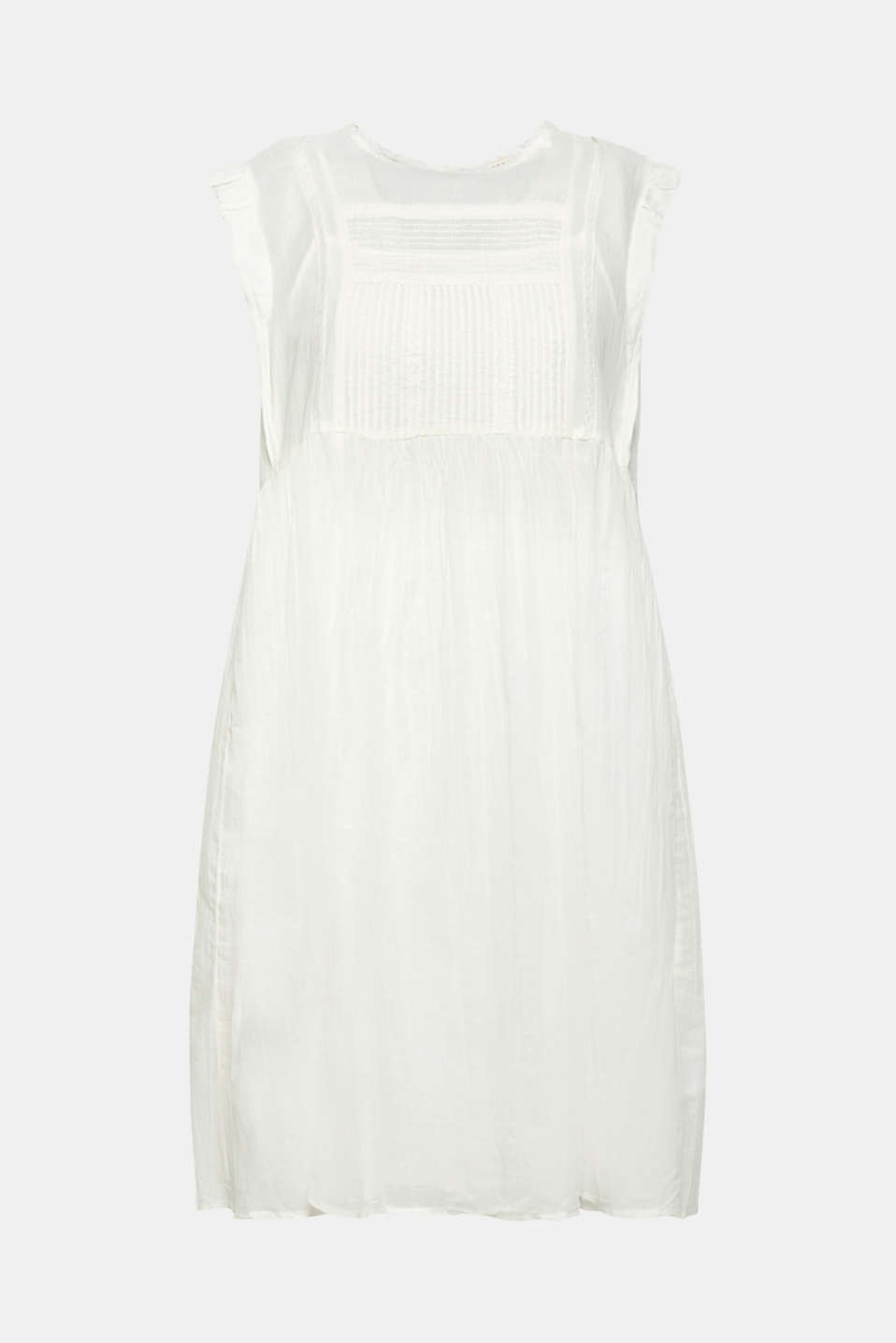 Crinkled cotton dress with embroidery and pintucks, OFF WHITE, detail image number 6