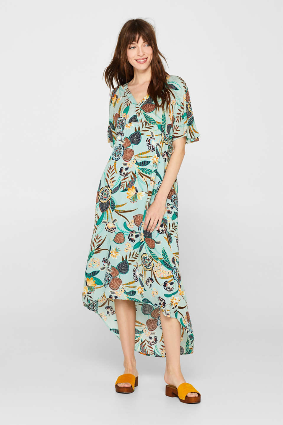 Print dress with high-low hem, LIGHT AQUA GREEN, detail image number 0