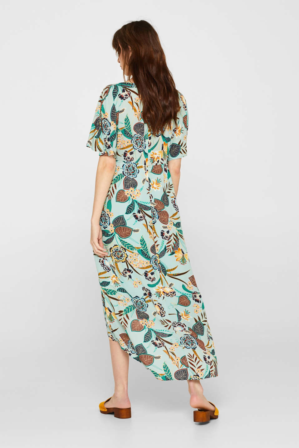 Print dress with high-low hem, LIGHT AQUA GREEN, detail image number 2