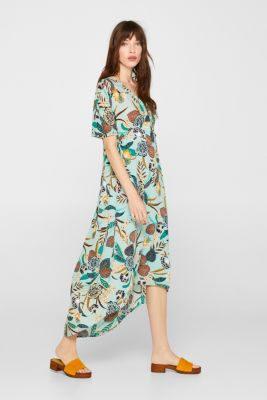 Print dress with high-low hem, LIGHT AQUA GREEN, detail