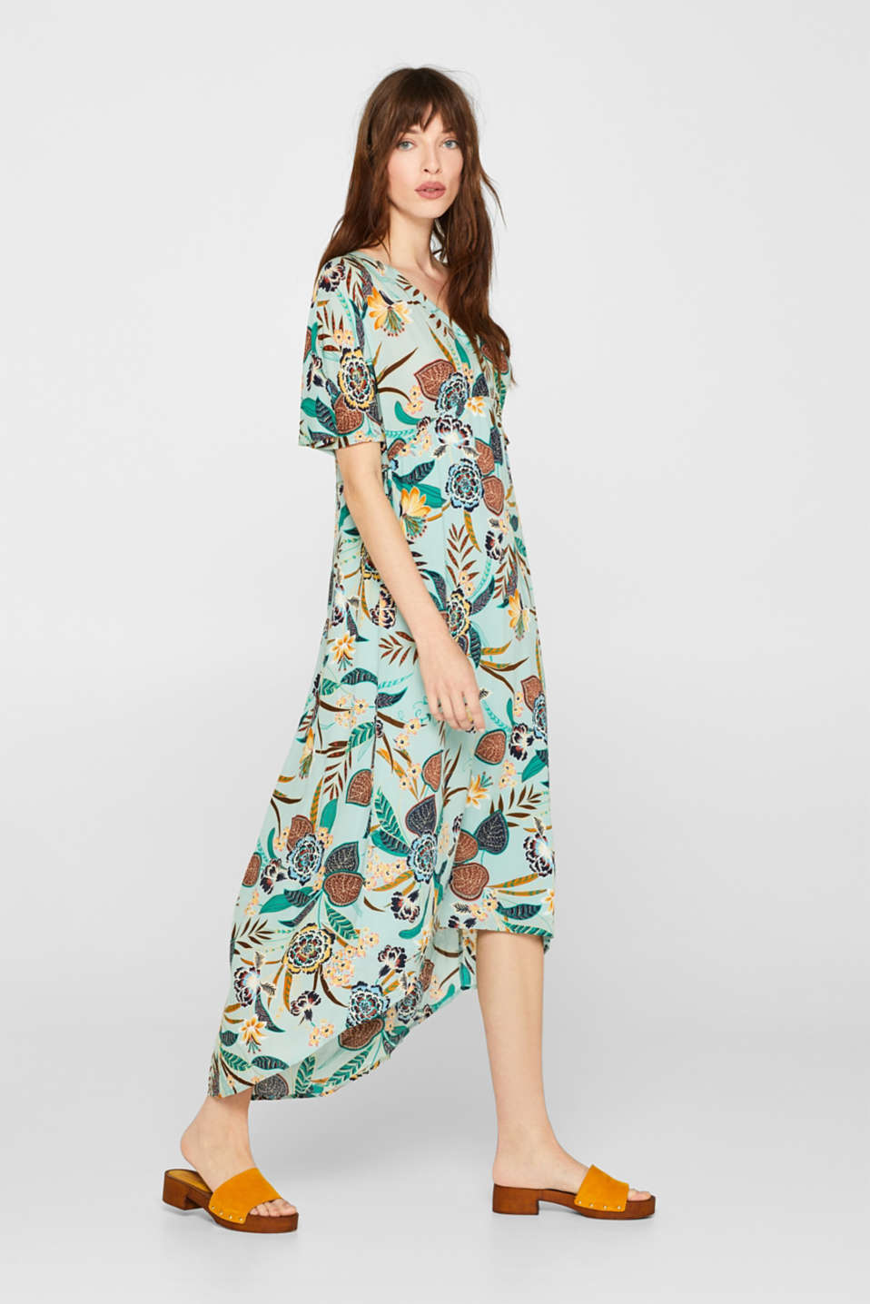 Print dress with high-low hem, LIGHT AQUA GREEN, detail image number 1