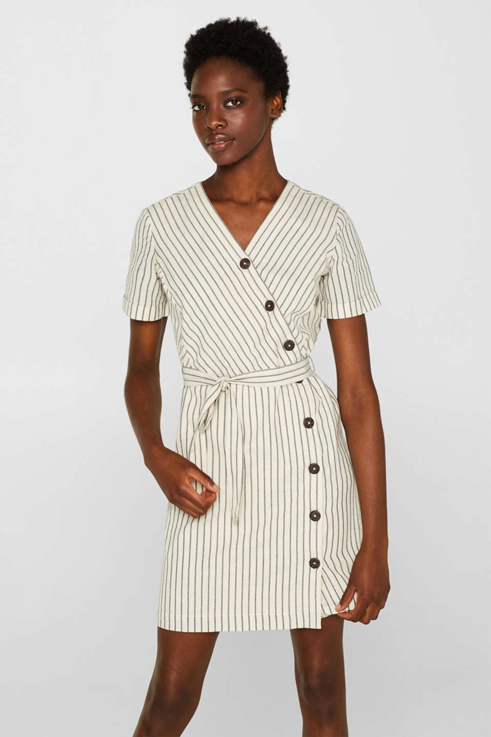 Esprit - Blended linen dress in a wrap-over look