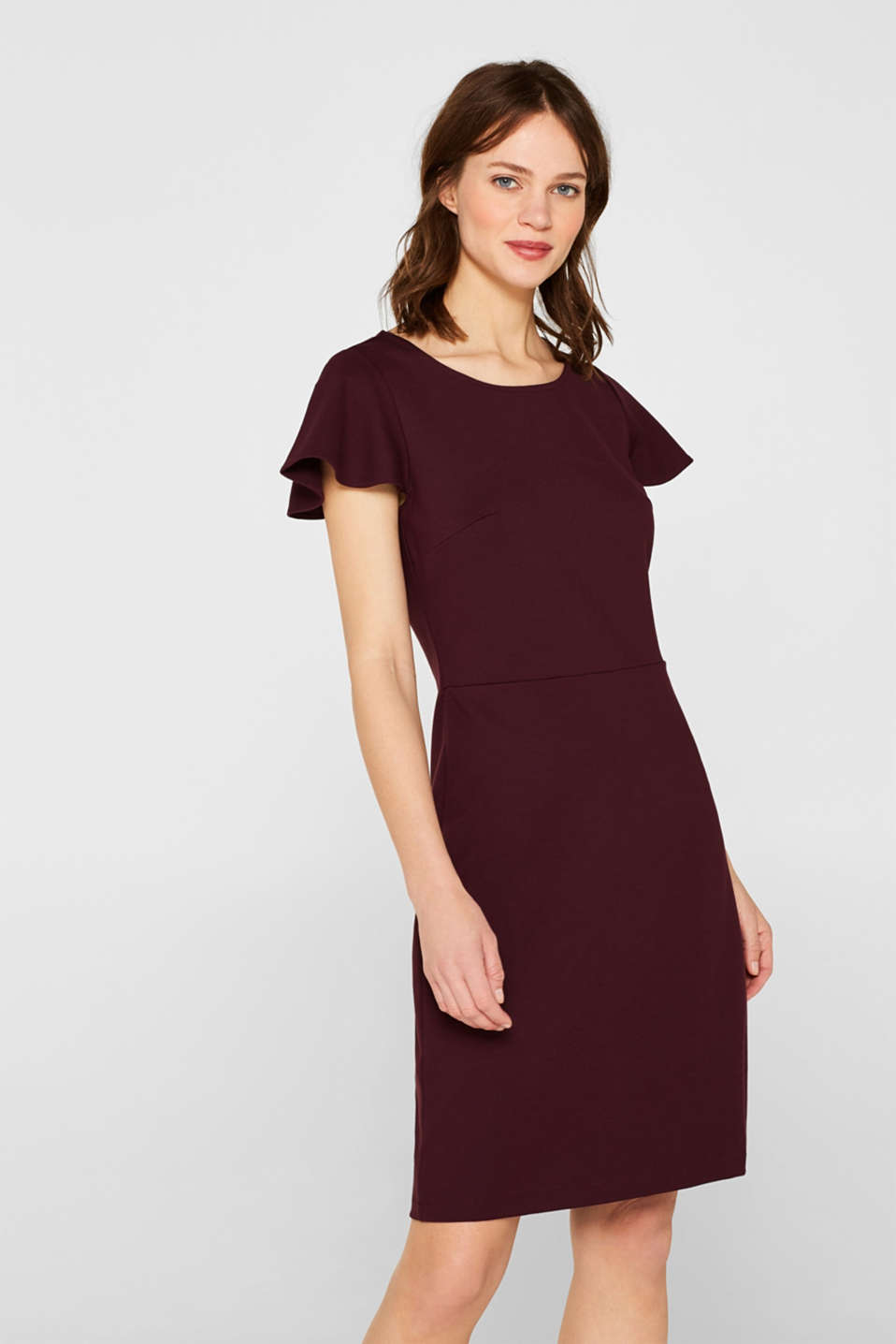Esprit - Stretch jersey sheath dress with cap sleeves