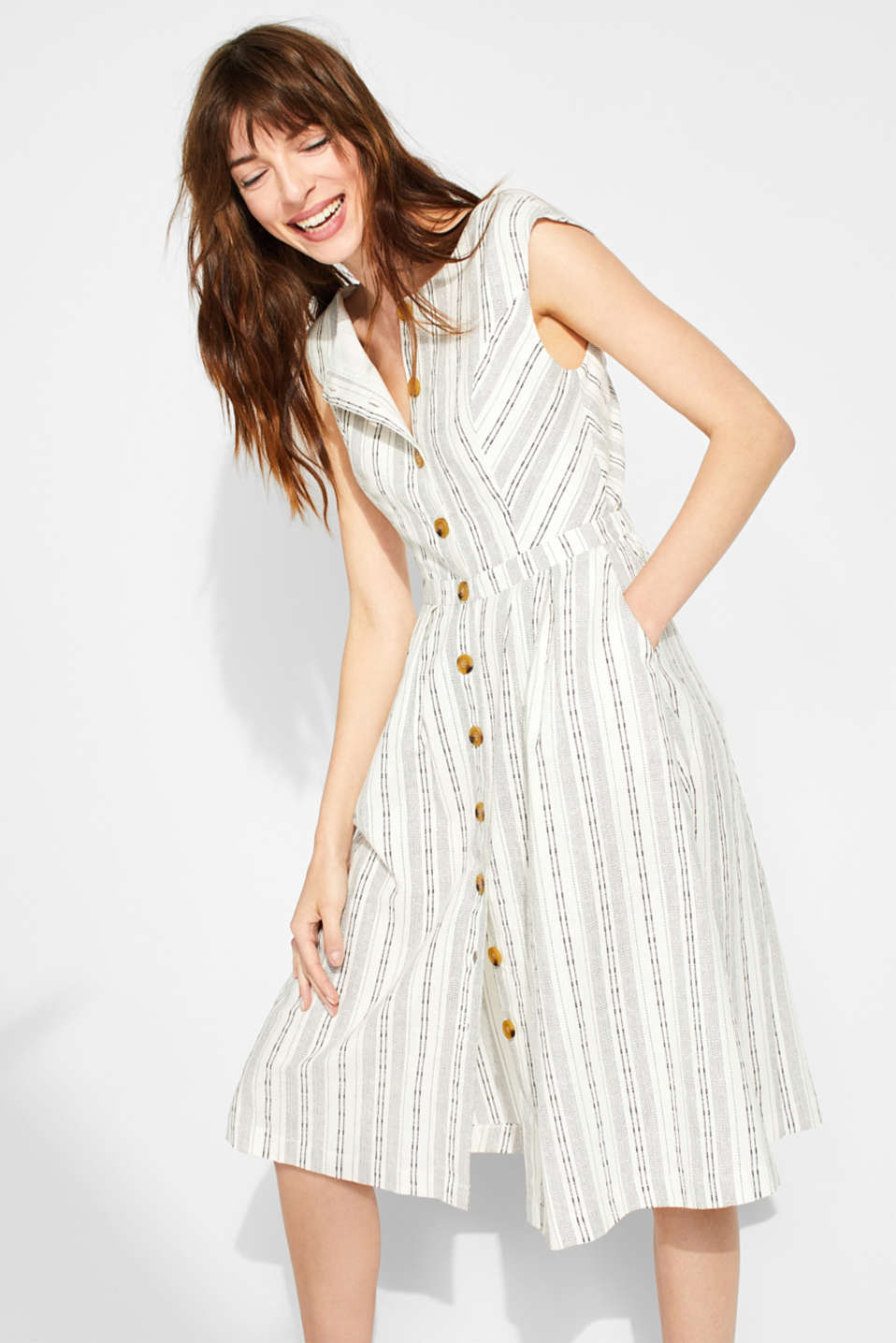 Esprit - Made of blended linen: dress with textured stripes