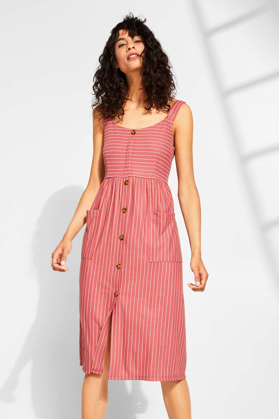 Esprit - Strappy dress with stripes and button placket