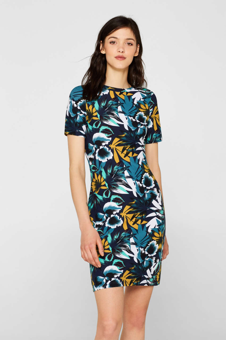 Esprit - Stretch jersey sheath dress with a print