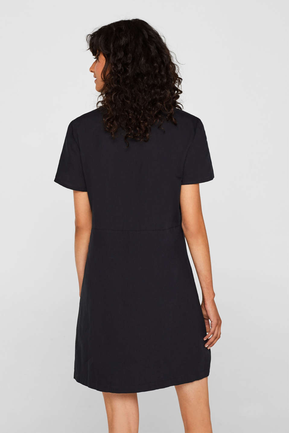 Made of blended linen: Blouse-style dress, BLACK, detail image number 2