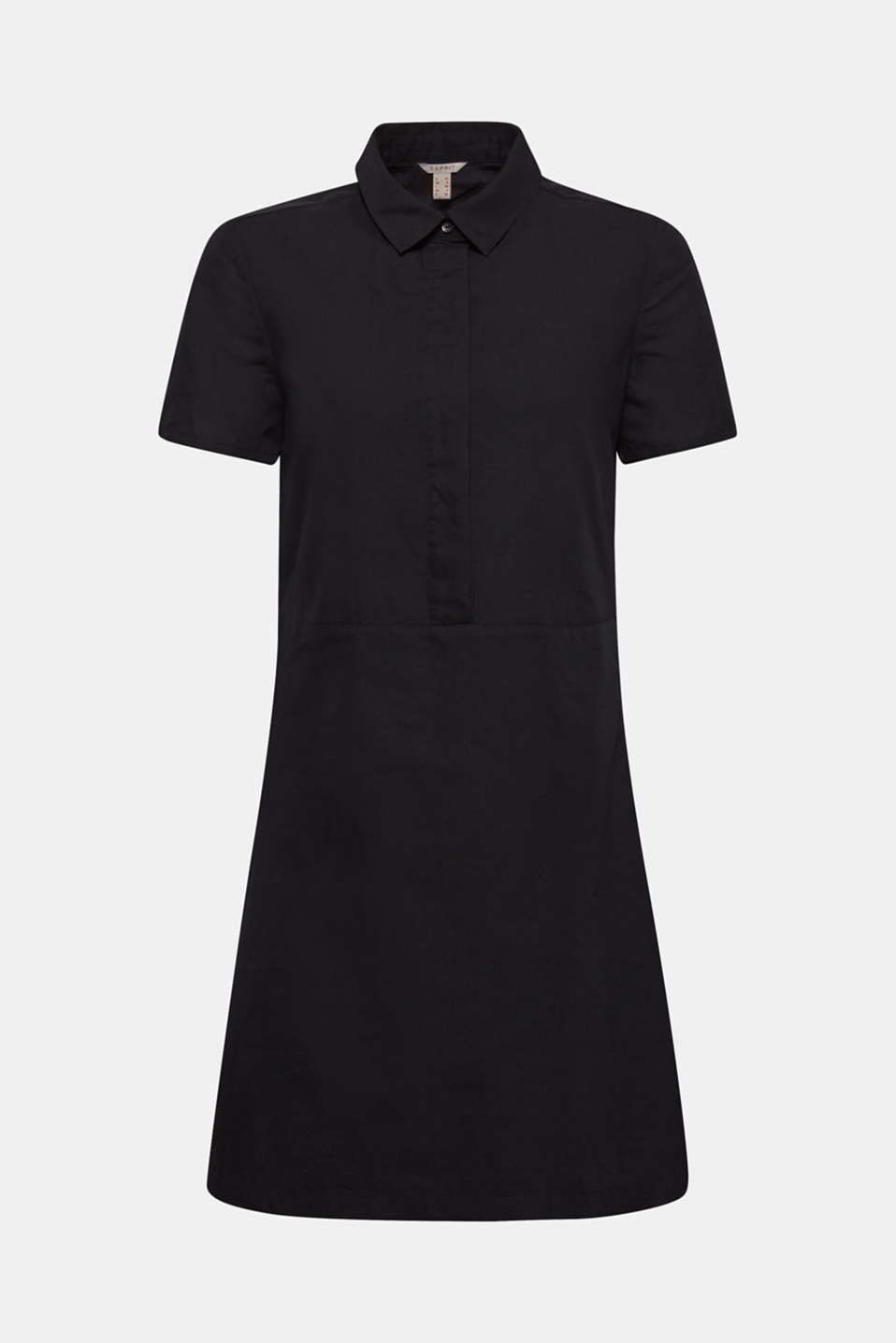 Made of blended linen: Blouse-style dress, BLACK, detail image number 6