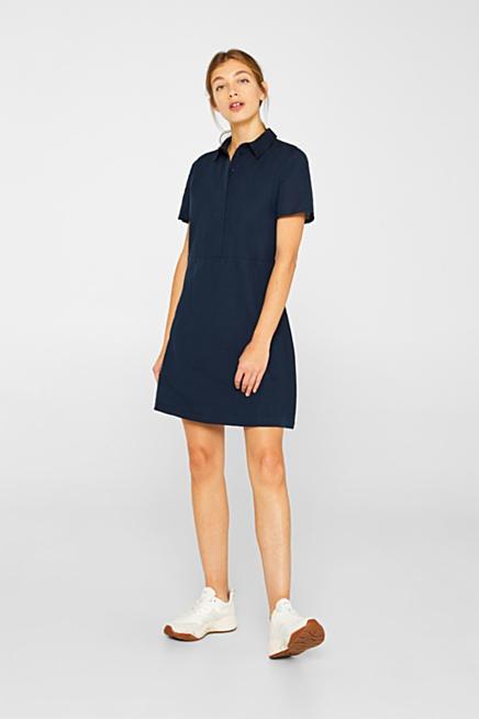 54a44f62874 Aus Leinen-Mix  Kleid im Blusen-Stil