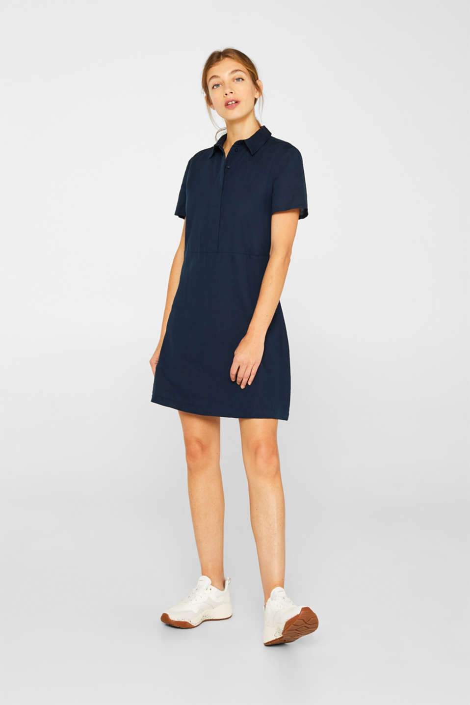 Esprit - Made of blended linen: Blouse-style dress