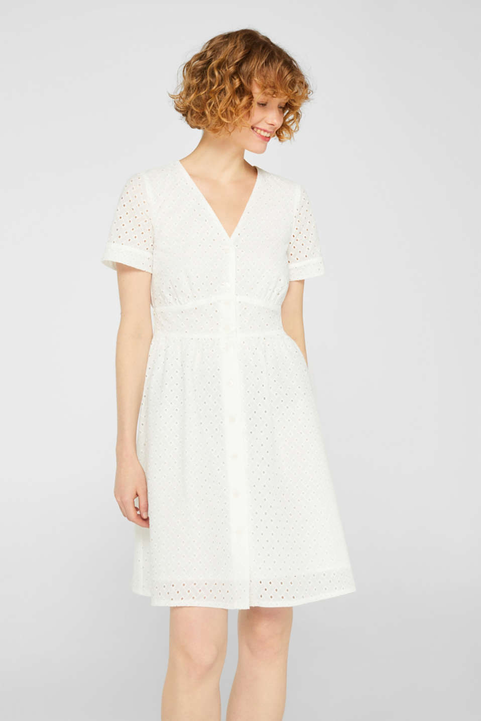 Esprit - Cotton dress with tonal broderie anglaise