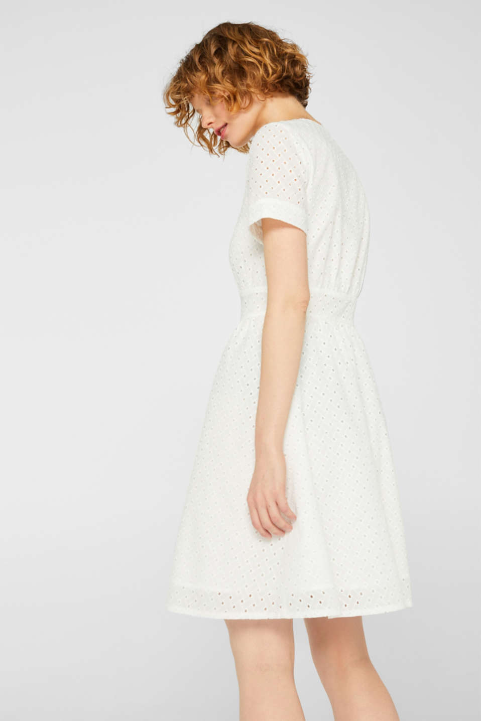 Cotton dress with tonal broderie anglaise, WHITE, detail image number 2