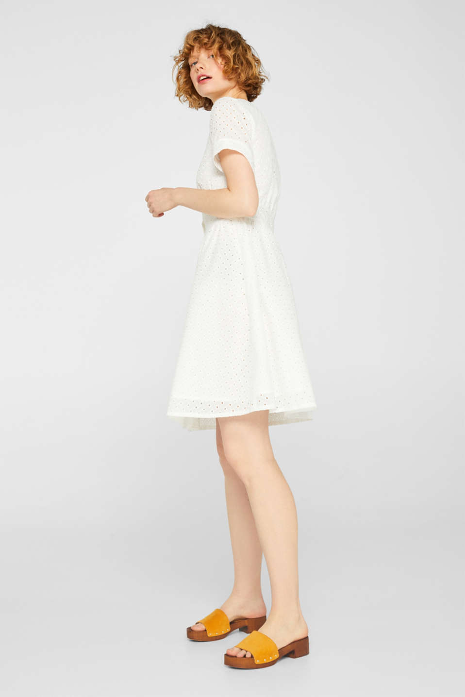 Cotton dress with tonal broderie anglaise, WHITE, detail image number 1