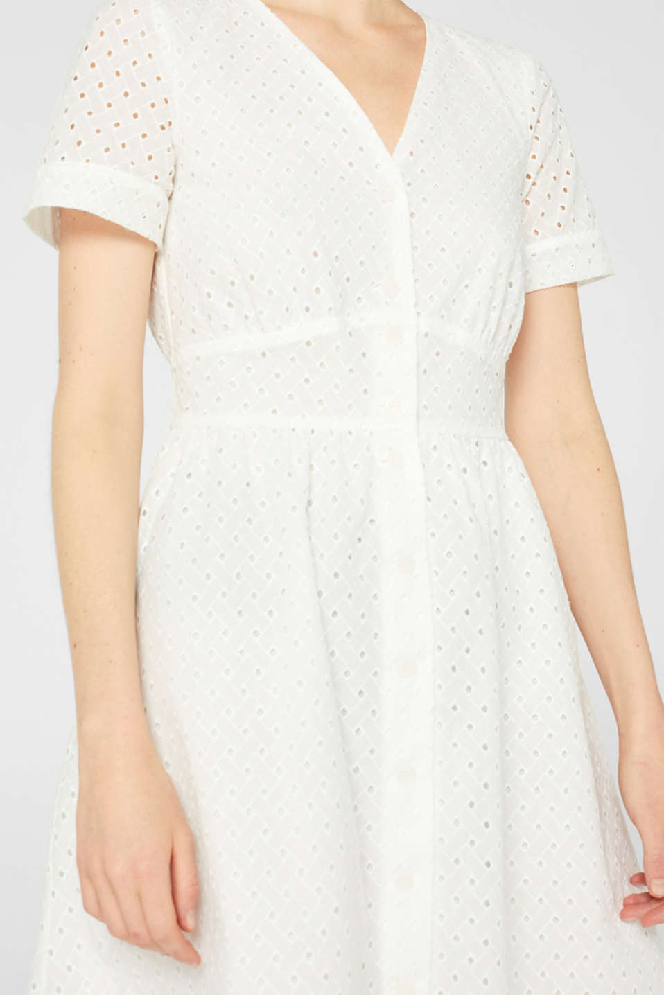 Cotton dress with tonal broderie anglaise, WHITE, detail image number 3