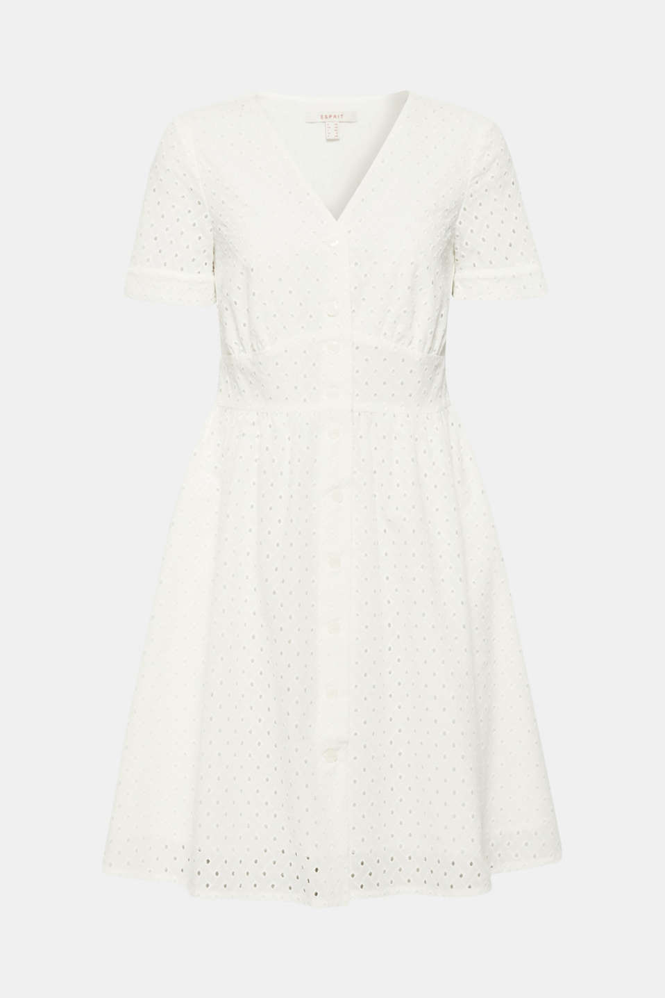 Cotton dress with tonal broderie anglaise, WHITE, detail image number 5