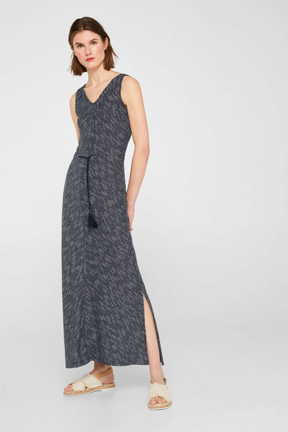 Esprit - Striped jersey maxi dress