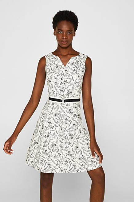 94f83eb337 Con lino  vestido estampado con cinturón de tela