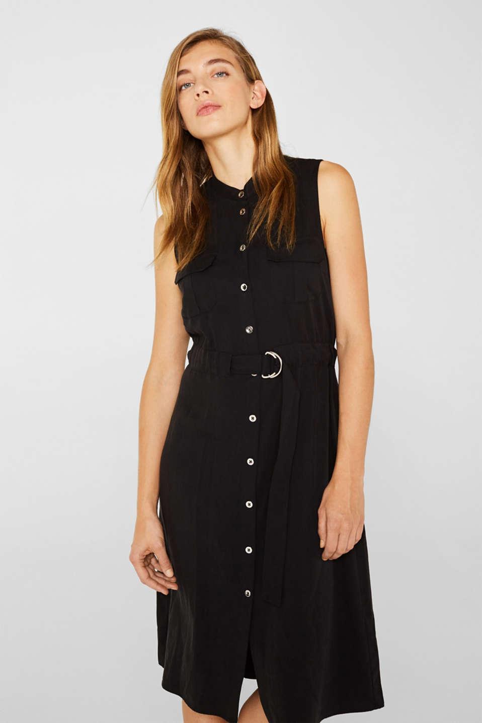 Linen blend: Utility-style midi dress, BLACK, detail image number 0
