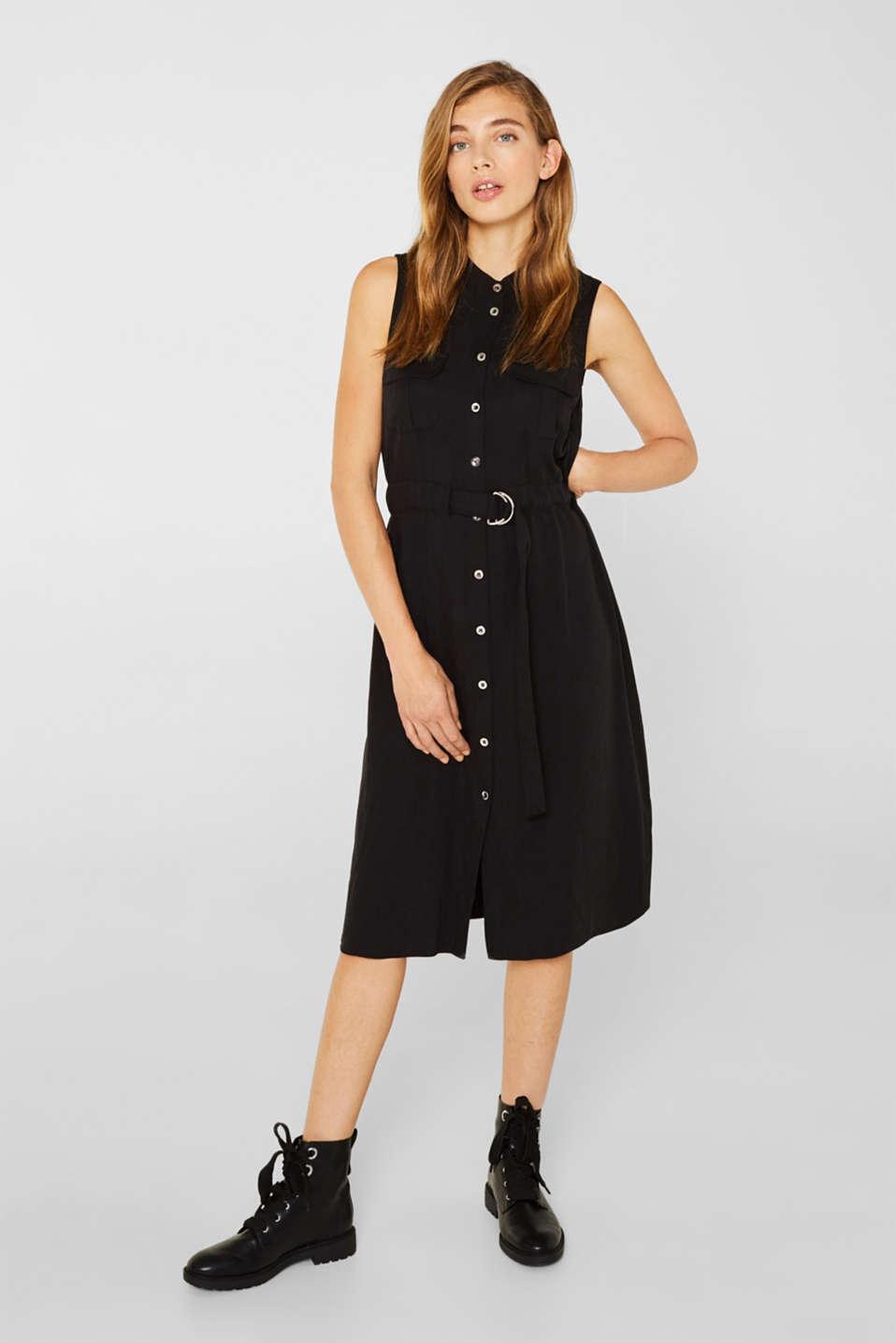 Linen blend: Utility-style midi dress, BLACK, detail image number 5