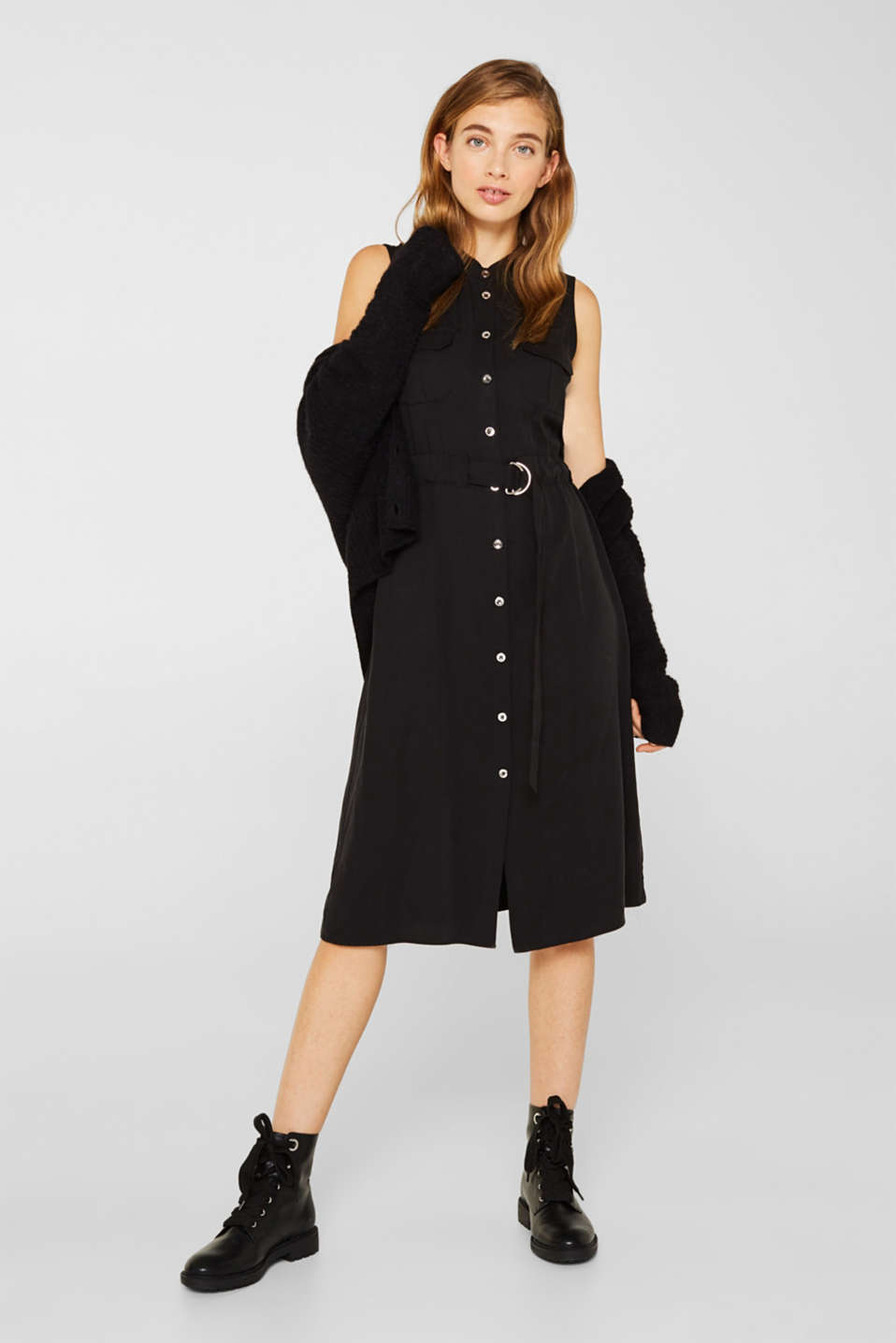 Linen blend: Utility-style midi dress, BLACK, detail image number 1