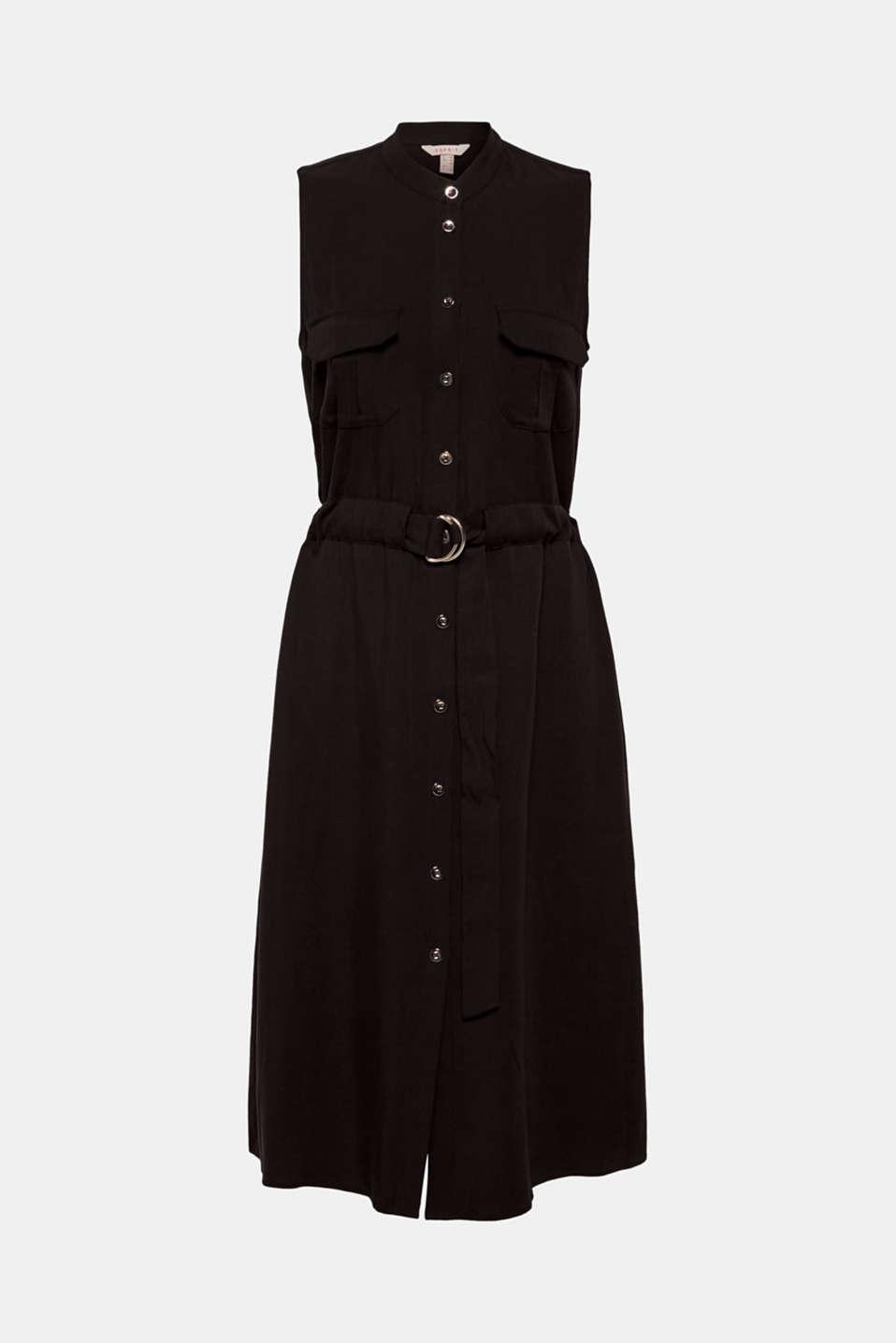 Linen blend: Utility-style midi dress, BLACK, detail image number 7