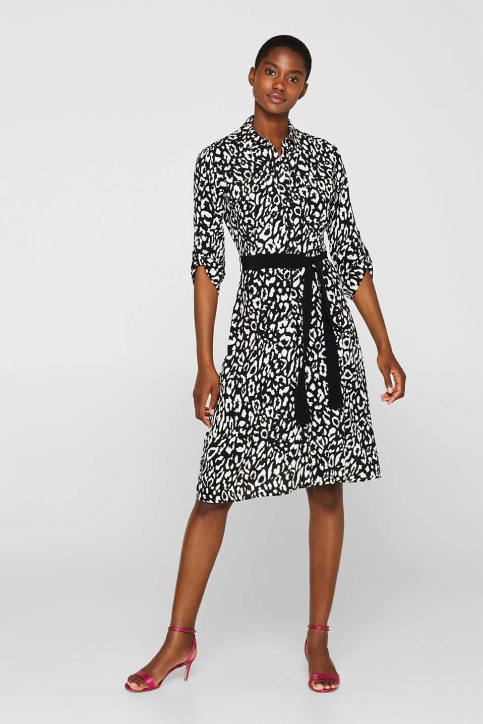 Shirt dress with turn-up sleeves, BLACK, detail