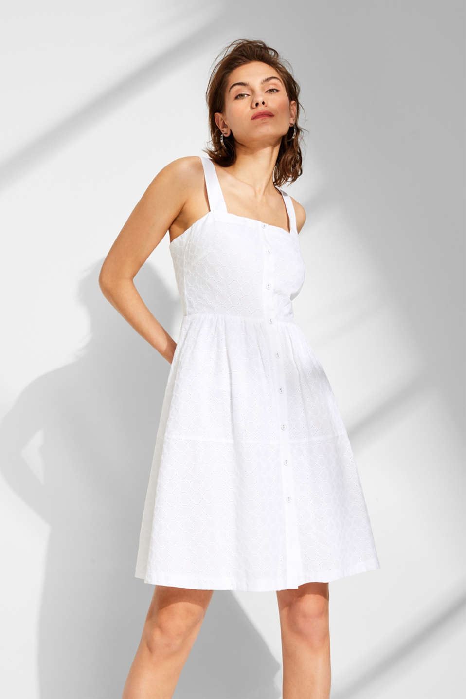 Esprit - Strap dress with broderie anglaise, 100% cotton