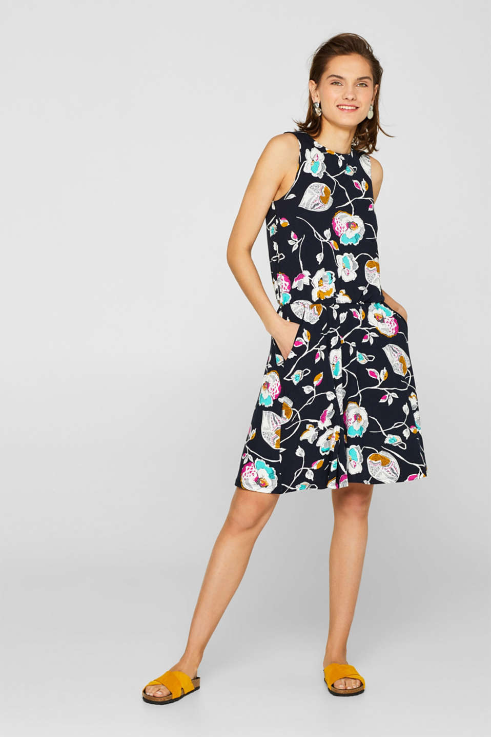 Jersey dress with stretch and a floral print, NAVY, detail image number 0