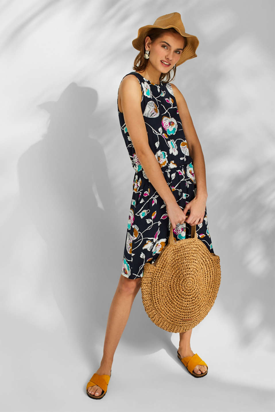 Jersey dress with stretch and a floral print, NAVY, detail image number 1