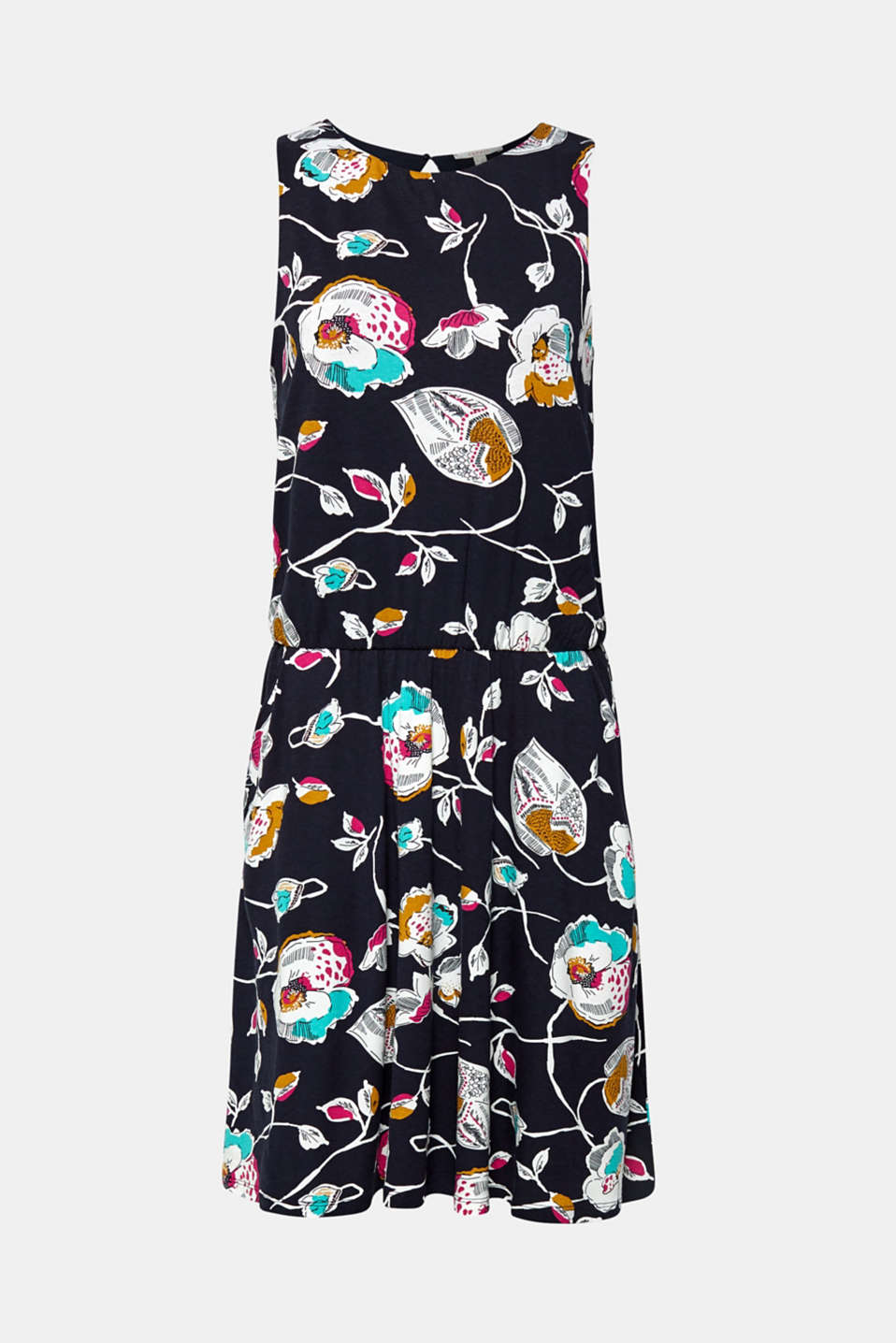 Jersey dress with stretch and a floral print, NAVY, detail image number 6