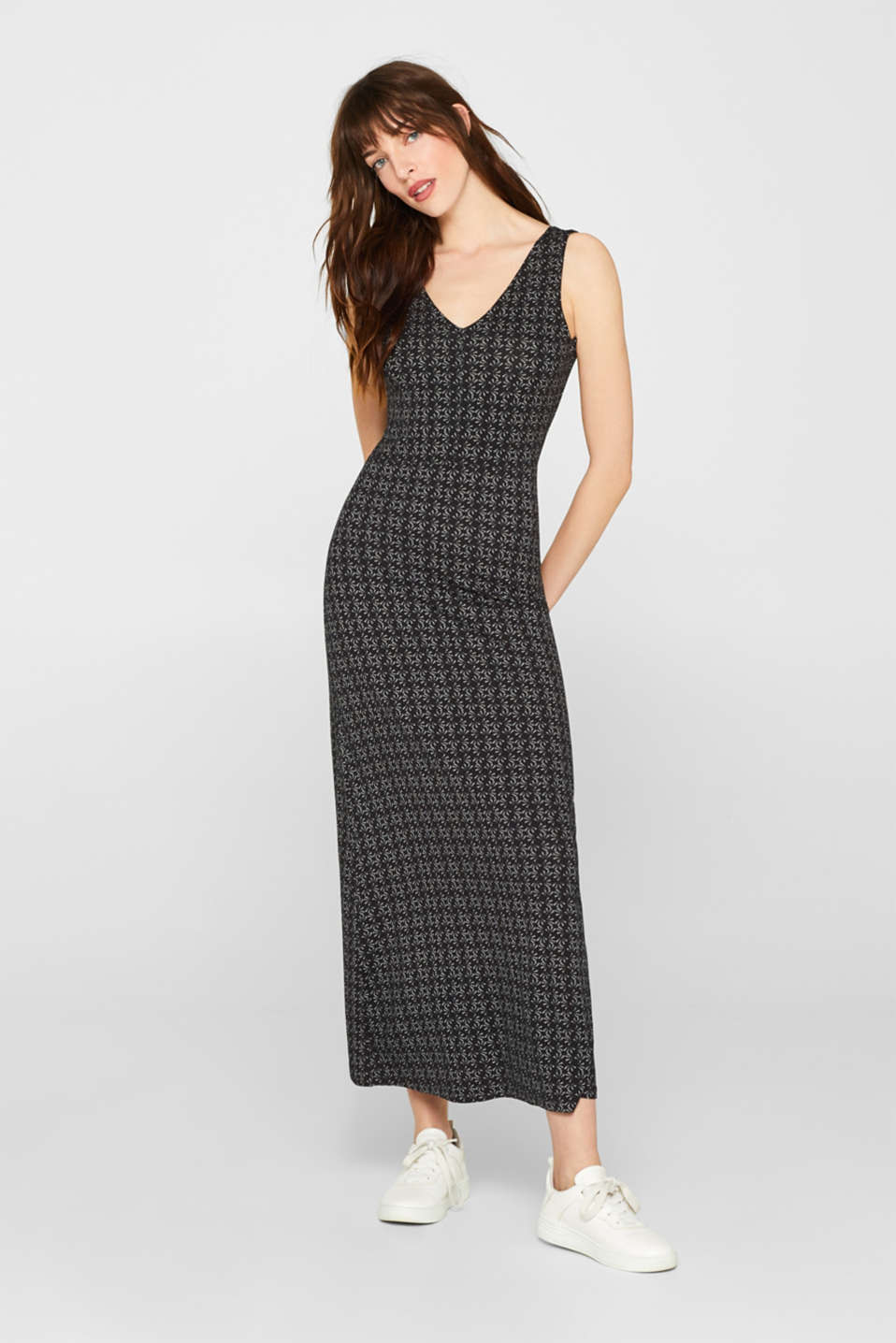 Esprit - Maxi dress made of stretch jersey with V-necklines