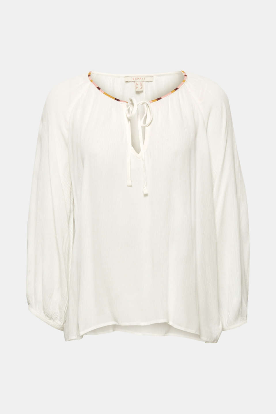 Esprit - Crinkle blouse with balloon sleeves