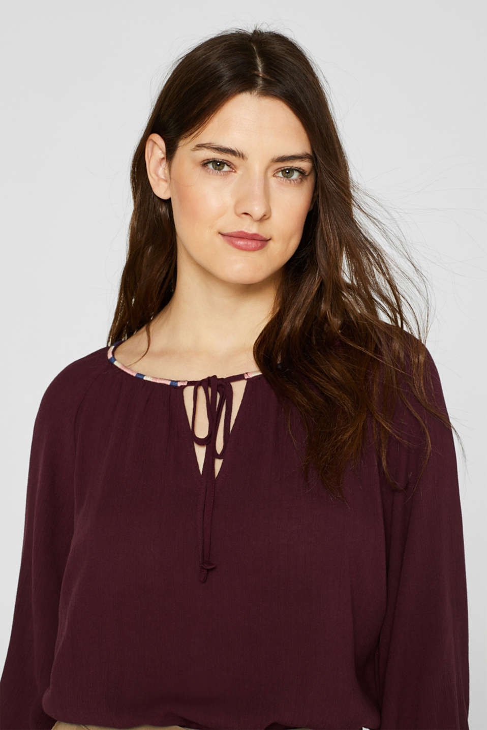 Blouses woven, BORDEAUX RED, detail image number 5