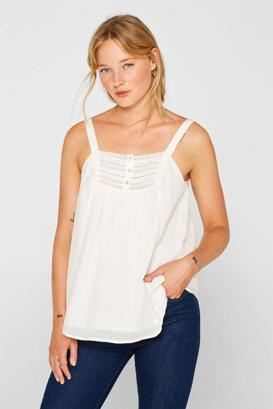 Esprit - Cotton crinkle top with lace
