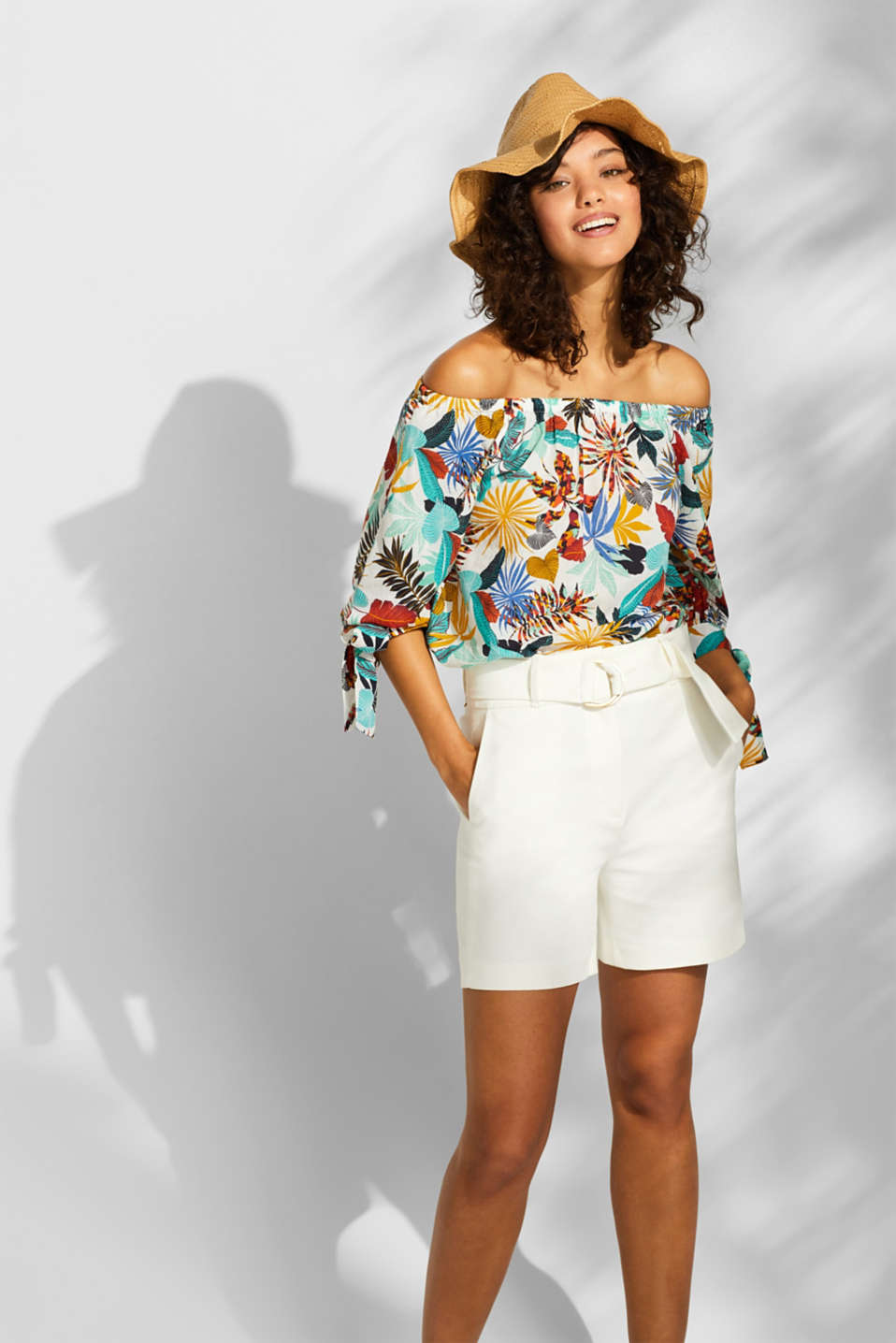 Printed off-the-shoulder blouse, 100% cotton