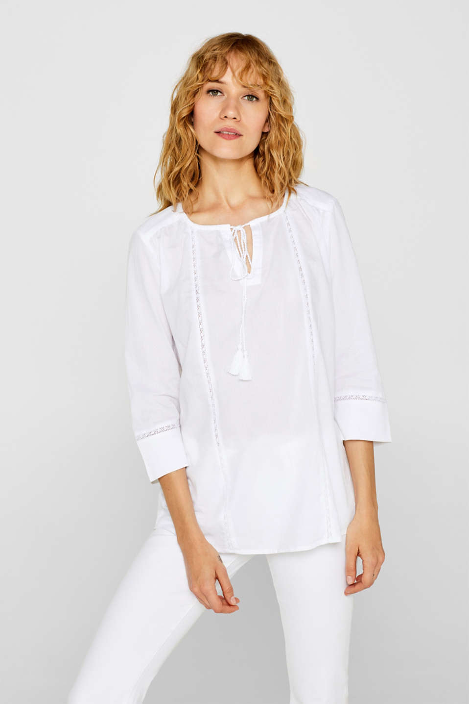 Esprit - Tunic blouse with lace and ties