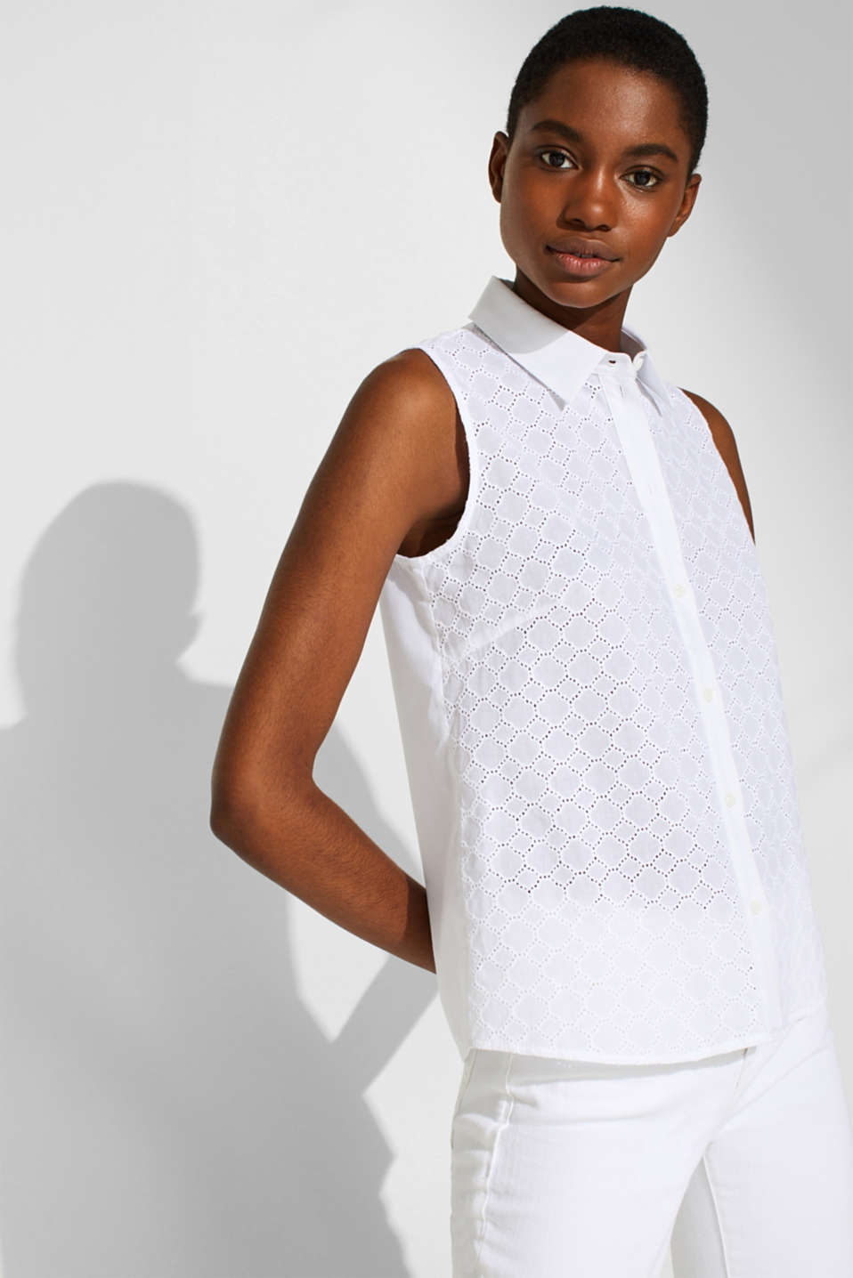 Blouse top with broderie anglaise and a shirt collar