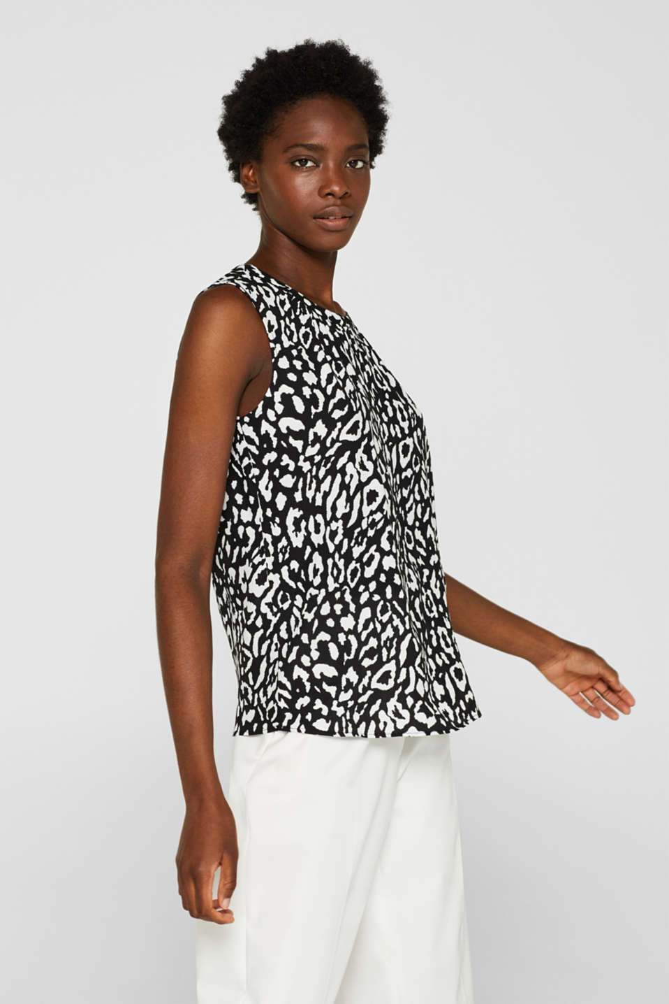 Esprit - Top med leopardprint